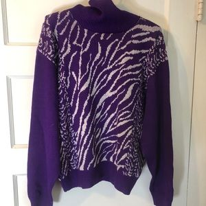 Vintage turtleneck in purple and silver sparkle!